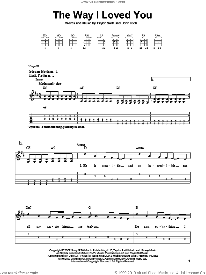 The Way I Loved You sheet music for guitar solo (easy tablature) by John Rich and Taylor Swift. Score Image Preview.