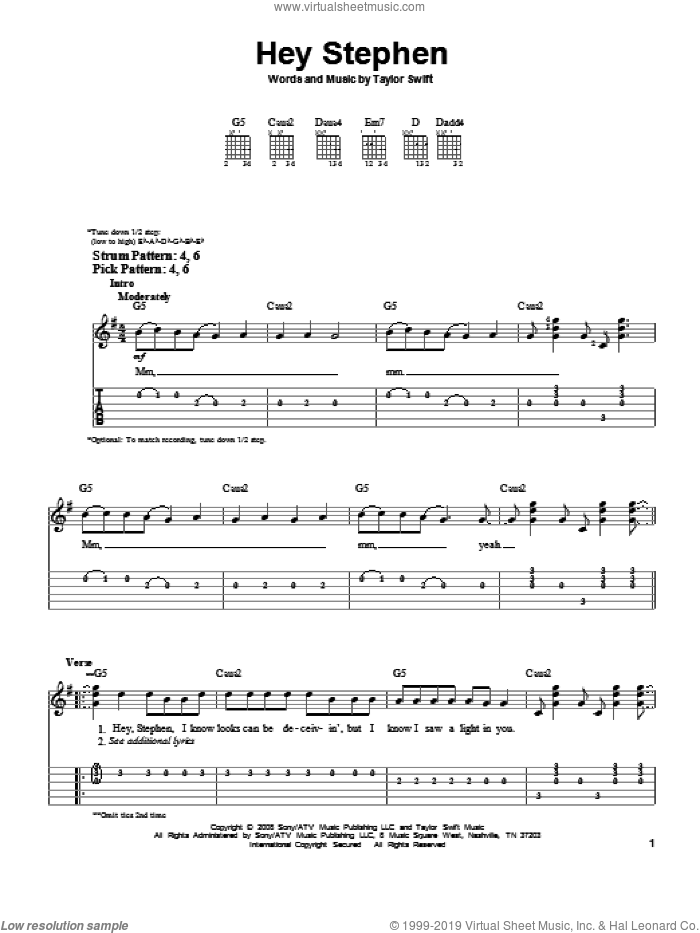 Hey Stephen sheet music for guitar solo (easy tablature) by Taylor Swift. Score Image Preview.