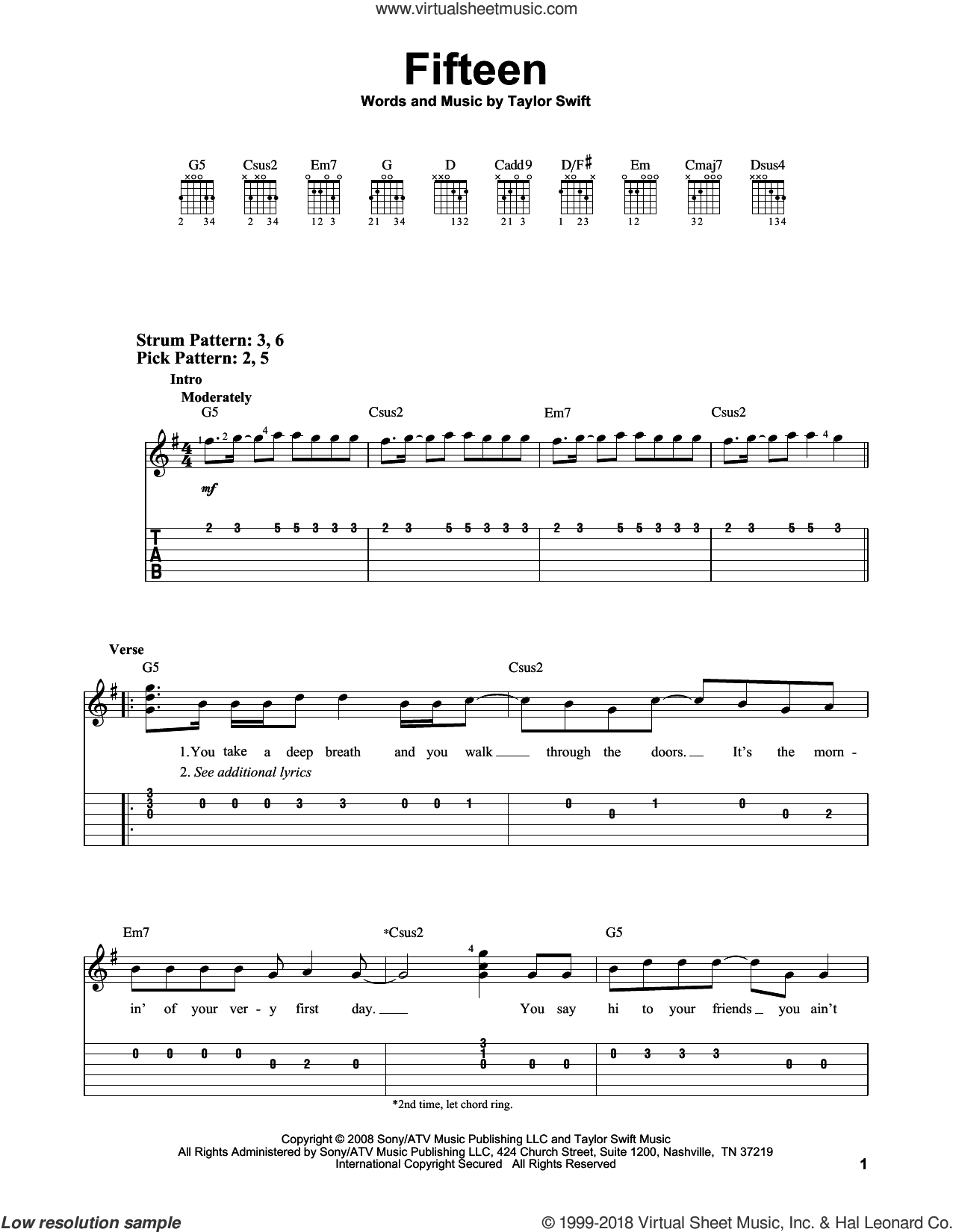 Fifteen sheet music for guitar solo (easy tablature) by Taylor Swift, easy guitar (easy tablature)