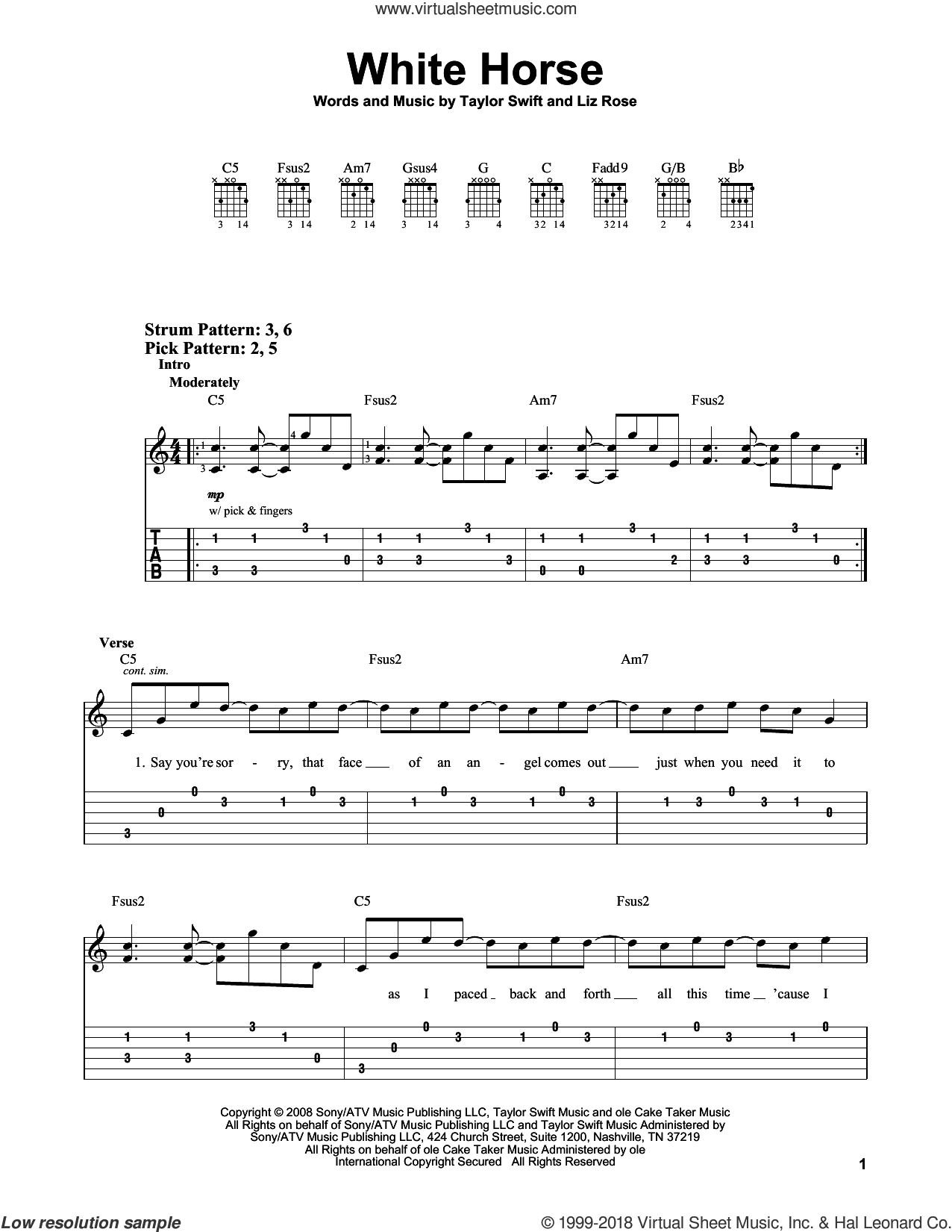 White Horse sheet music for guitar solo (easy tablature) by Taylor Swift and Liz Rose. Score Image Preview.