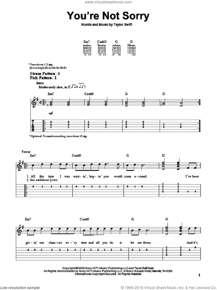 You're Not Sorry sheet music for guitar solo (easy tablature) by Taylor Swift
