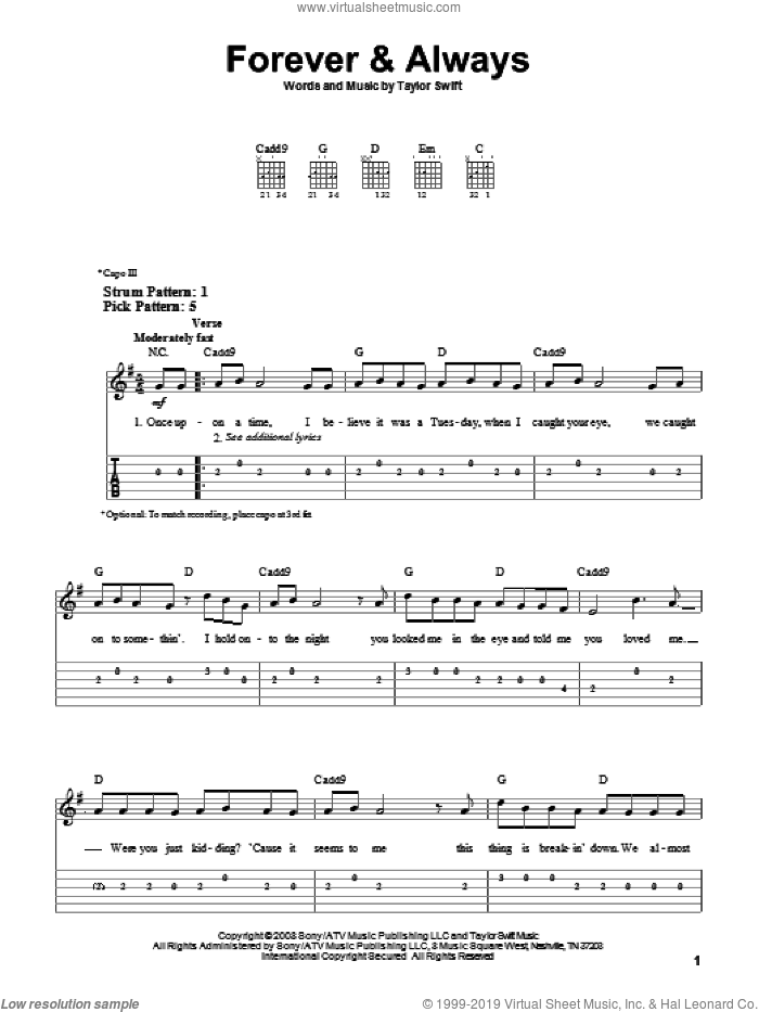 Forever and Always sheet music for guitar solo (easy tablature) by Taylor Swift, easy guitar (easy tablature)