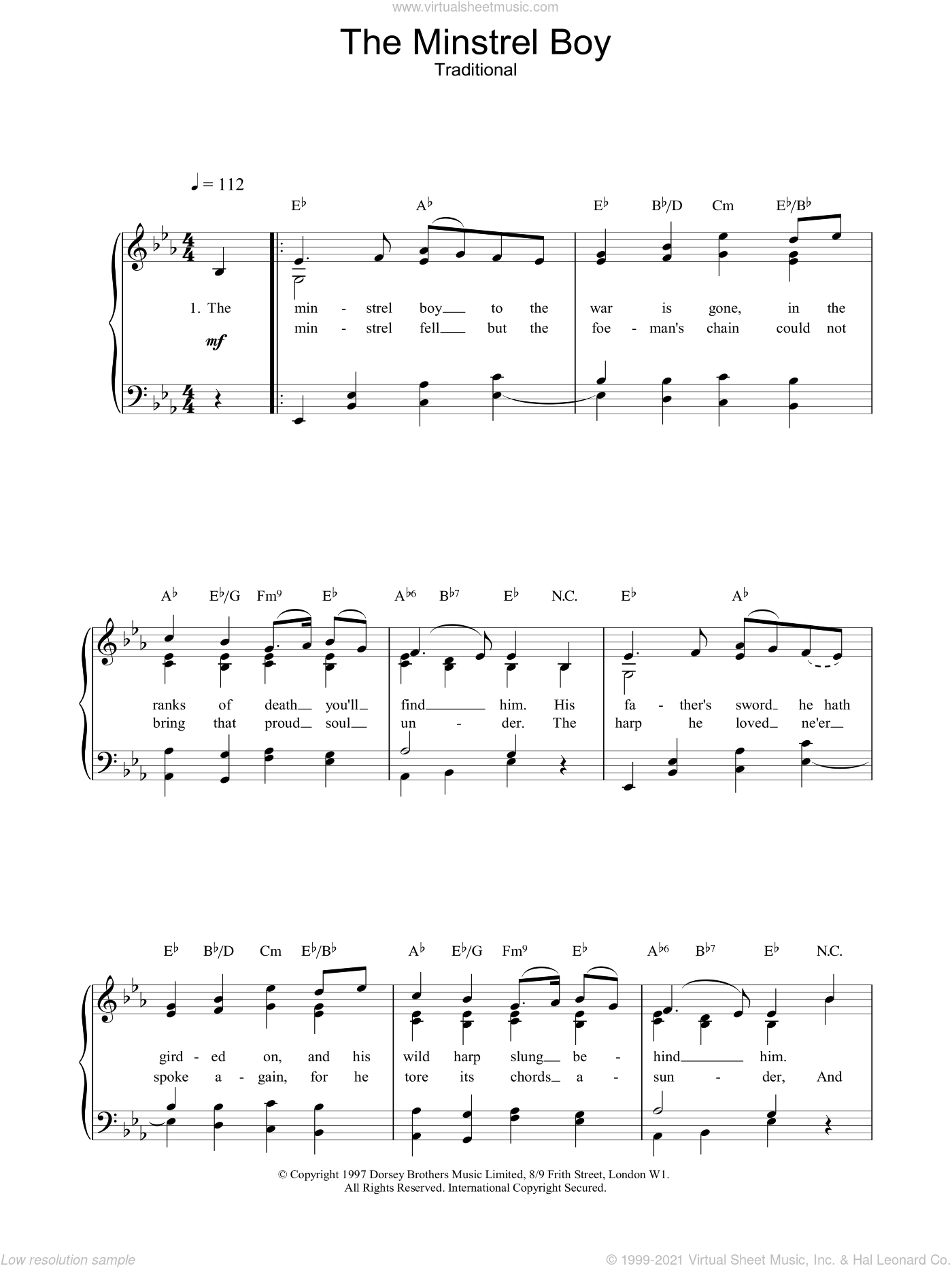 The Minstrel Boy sheet music for voice, piano or guitar
