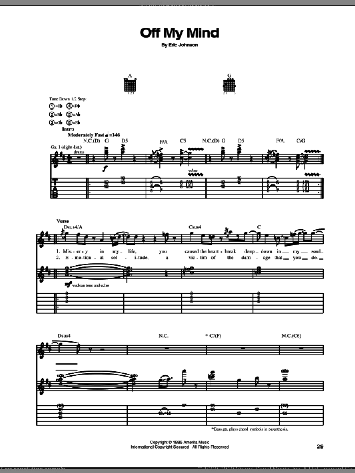 Off My Mind sheet music for guitar (tablature) by Eric Johnson. Score Image Preview.