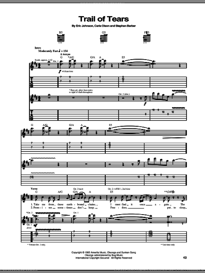 Trail Of Tears sheet music for guitar (tablature) by Eric Johnson and Carla Olson, intermediate skill level