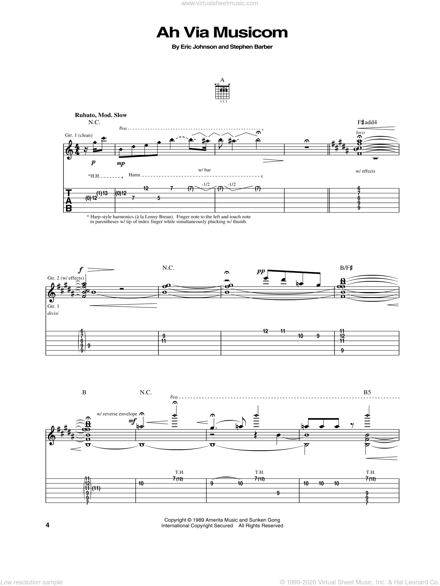 Ah Via Musicom sheet music for guitar (tablature) by Stephen Barber and Eric Johnson. Score Image Preview.