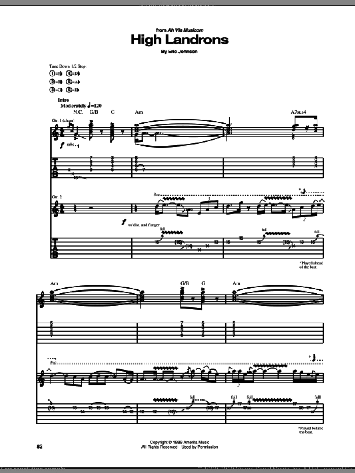 High Landrons sheet music for guitar (tablature) by Eric Johnson, intermediate guitar (tablature). Score Image Preview.