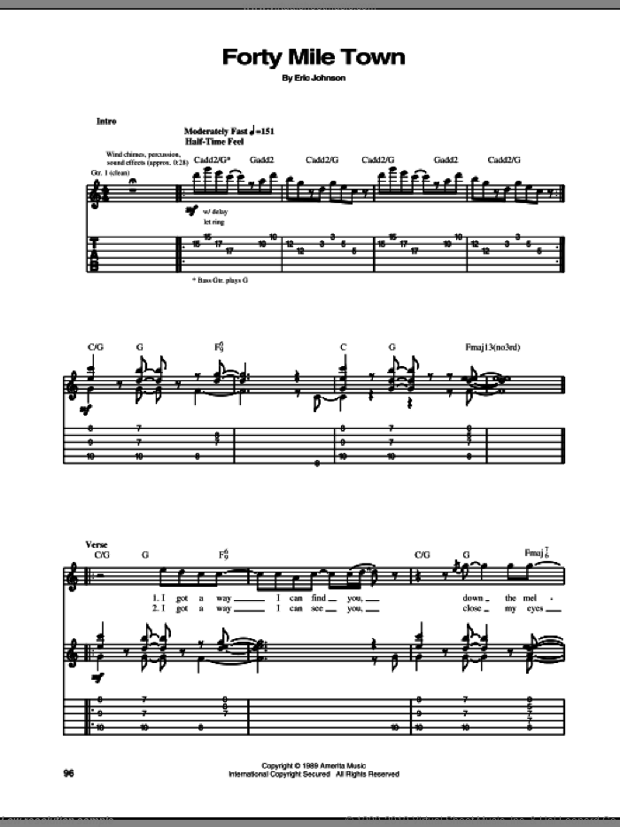 Forty Mile Town sheet music for guitar (tablature) by Eric Johnson. Score Image Preview.