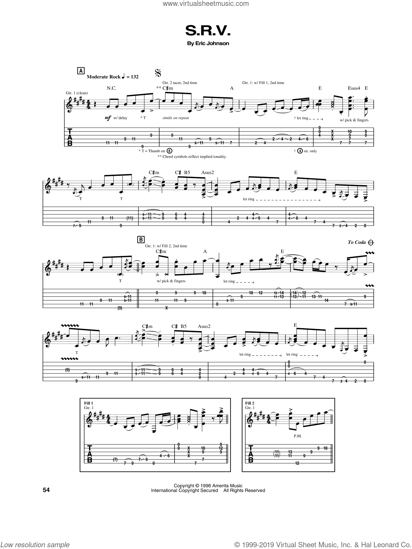 S.R.V. sheet music for guitar (tablature) by Eric Johnson, intermediate skill level