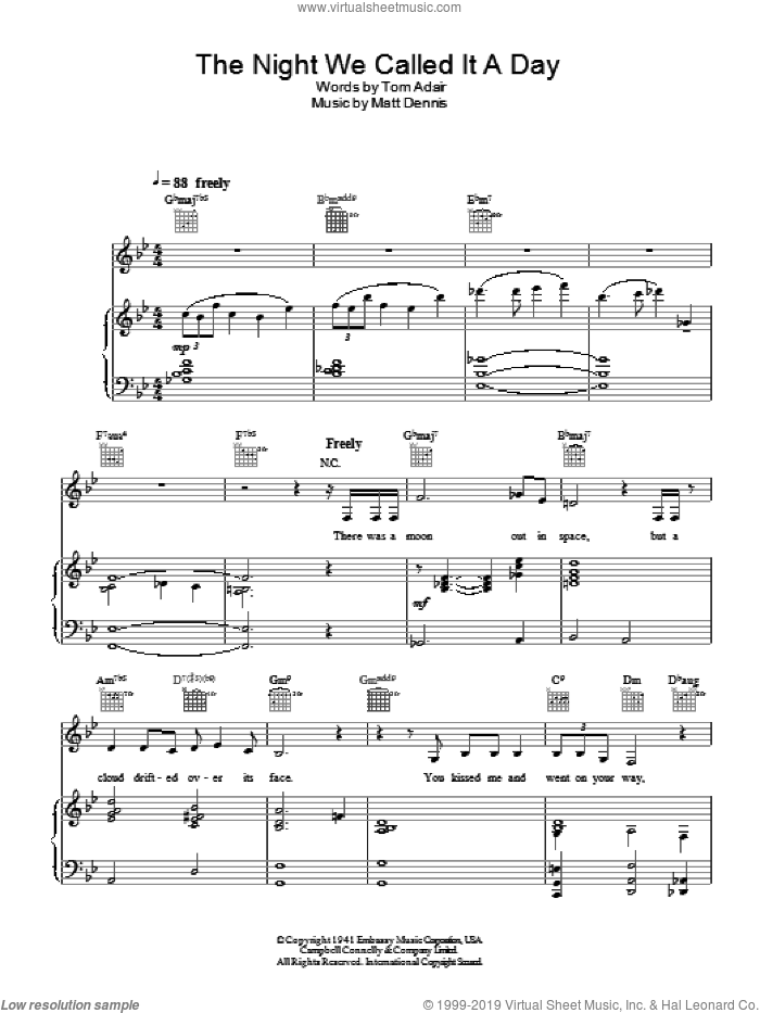 The Night We Called It A Day sheet music for voice, piano or guitar by Diana Krall. Score Image Preview.