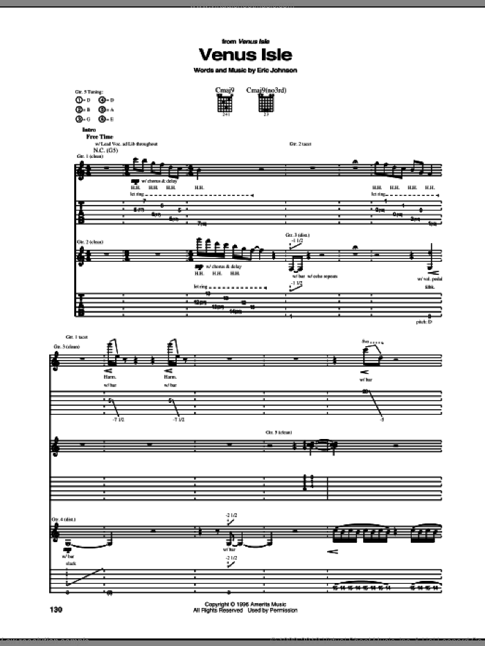Venus Isle sheet music for guitar (tablature) by Eric Johnson, intermediate. Score Image Preview.