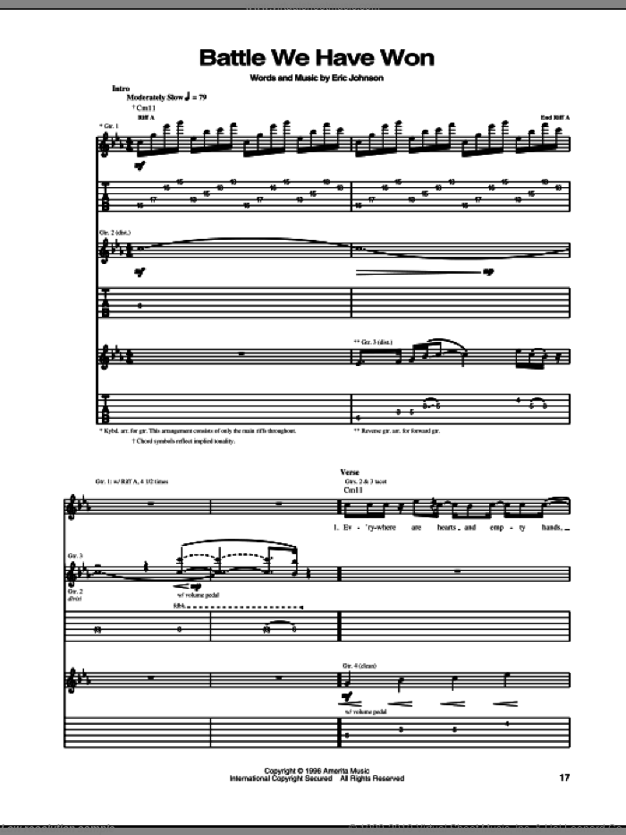 Battle We Have Won sheet music for guitar (tablature) by Eric Johnson. Score Image Preview.