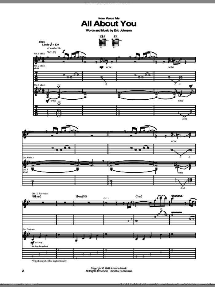 All About You sheet music for guitar (tablature) by Eric Johnson, intermediate guitar (tablature). Score Image Preview.