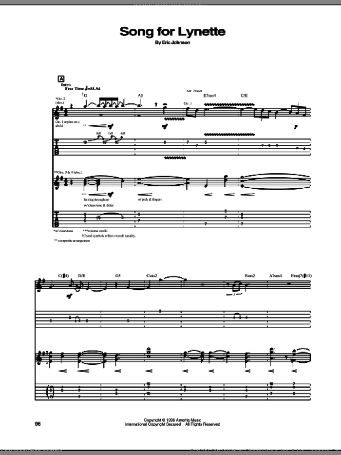 Song For Lynette sheet music for guitar (tablature) by Eric Johnson. Score Image Preview.