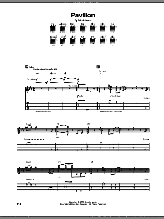 Pavilion sheet music for guitar (tablature) by Eric Johnson. Score Image Preview.