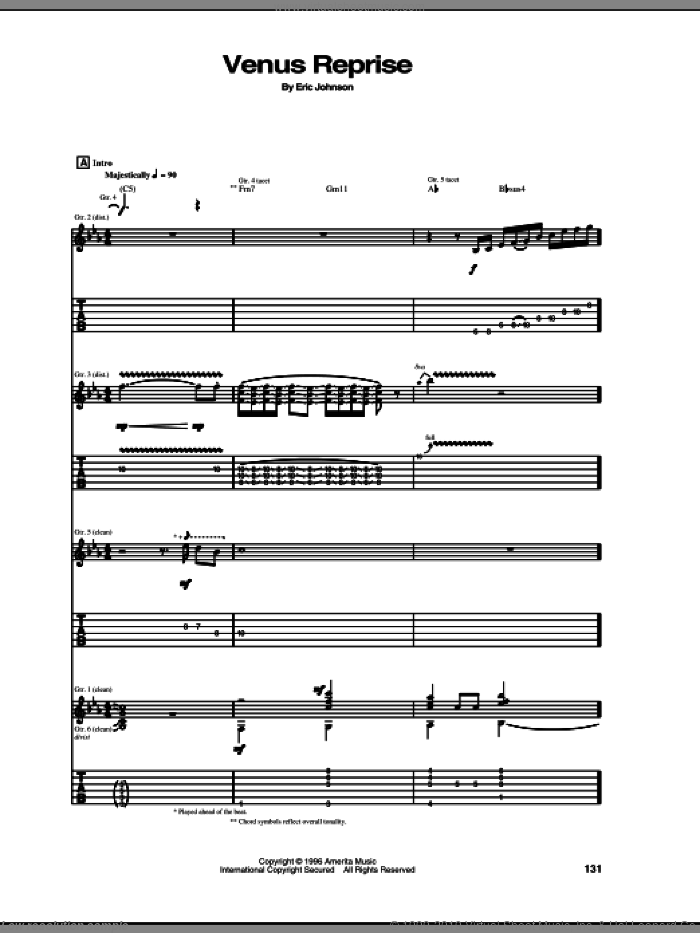 Venus Reprise sheet music for guitar (tablature) by Eric Johnson. Score Image Preview.