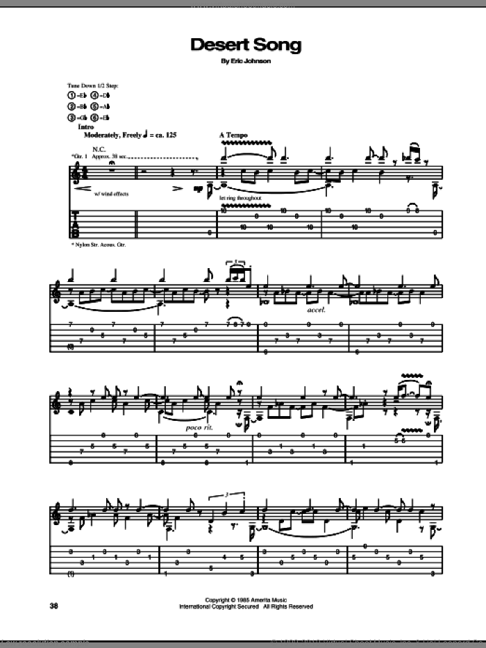 The Desert Song sheet music for guitar (tablature) by Eric Johnson. Score Image Preview.