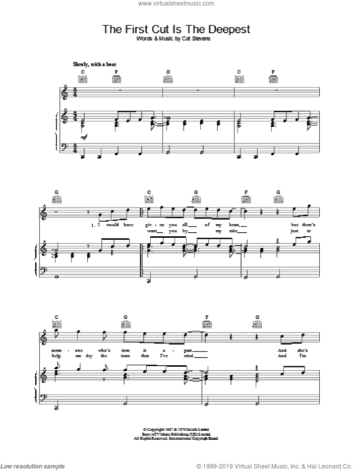The First Cut Is The Deepest sheet music for voice, piano or guitar by Rod Stewart and Sheryl Crow, intermediate. Score Image Preview.