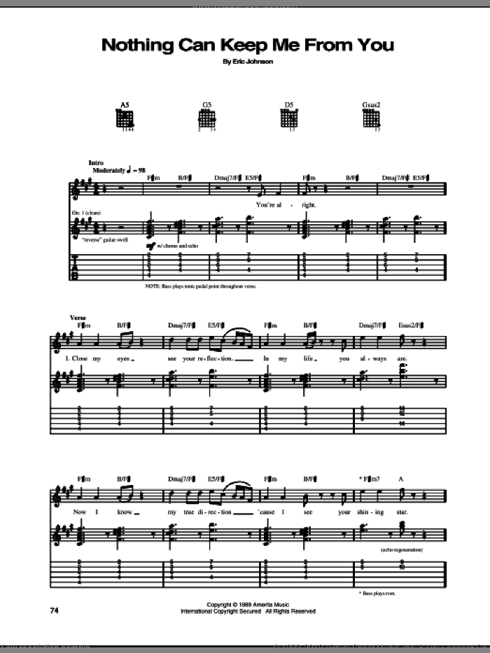 Nothing Can Keep Me From You sheet music for guitar (tablature) by Eric Johnson
