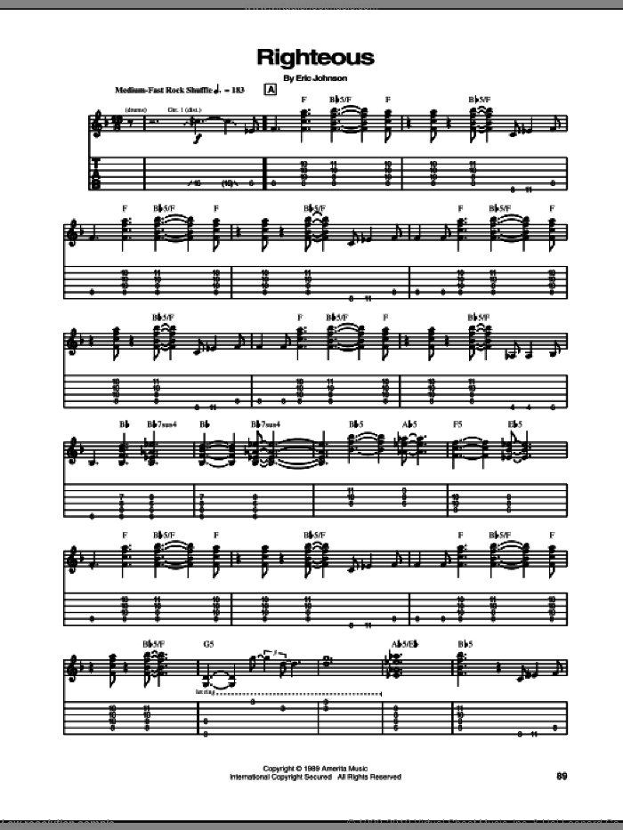 Righteous sheet music for guitar (tablature) by Eric Johnson. Score Image Preview.