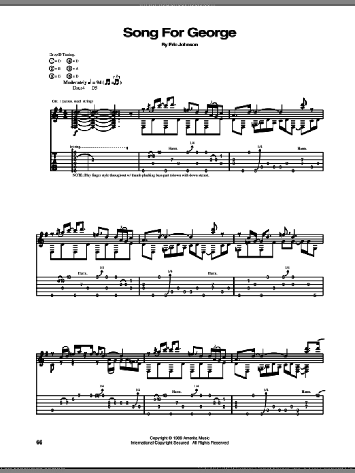Song For George sheet music for guitar (tablature) by Eric Johnson, intermediate. Score Image Preview.