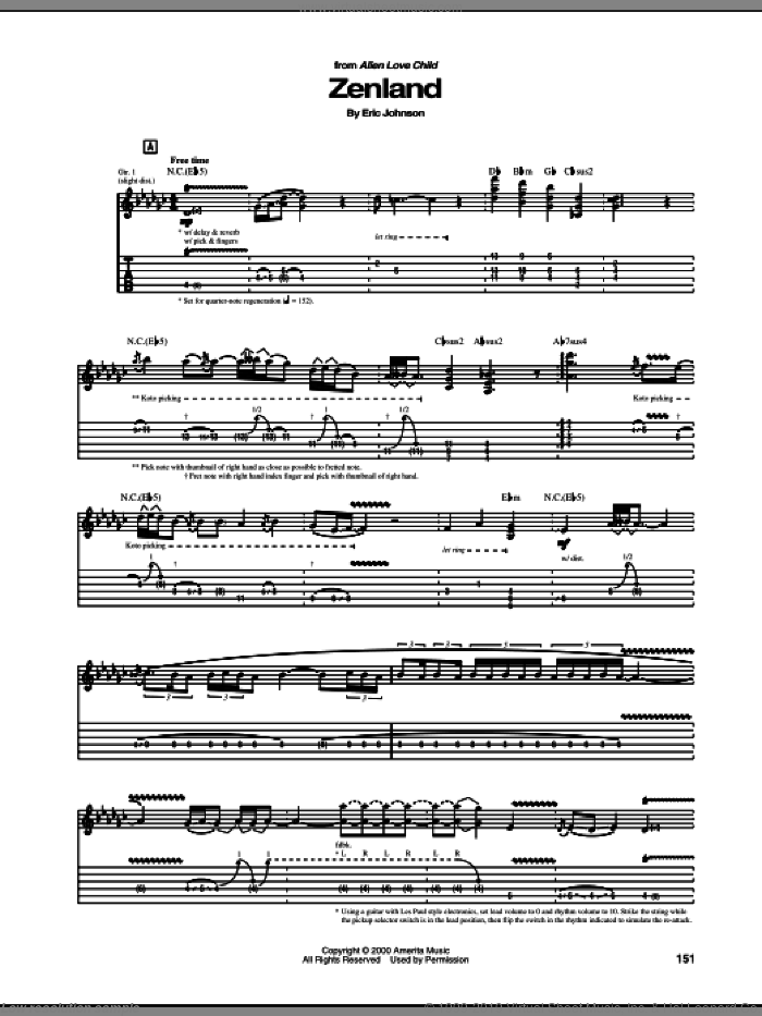 Zenland sheet music for guitar (tablature) by Eric Johnson. Score Image Preview.