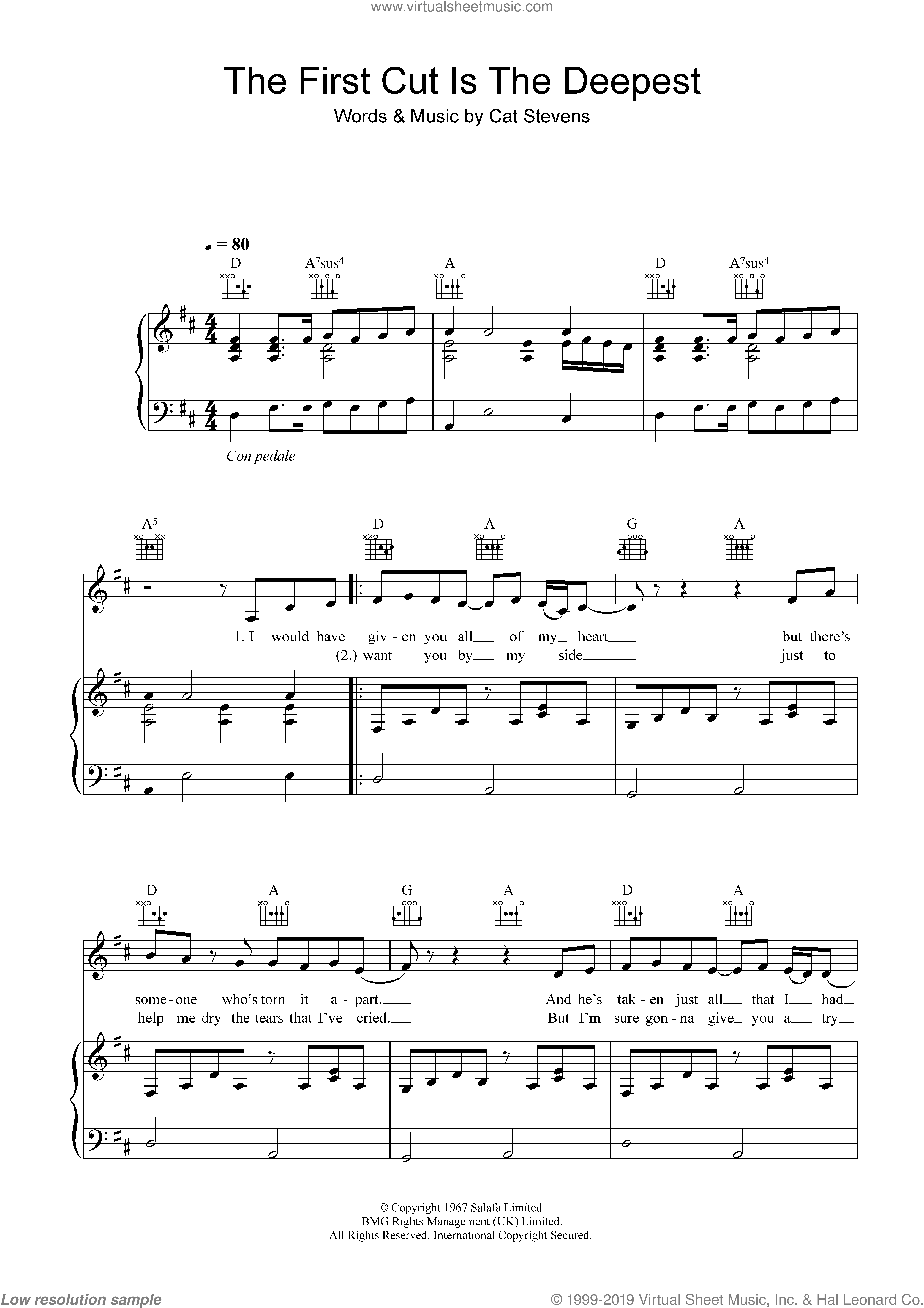 The First Cut Is The Deepest sheet music for voice, piano or guitar by Sheryl Crow, intermediate. Score Image Preview.