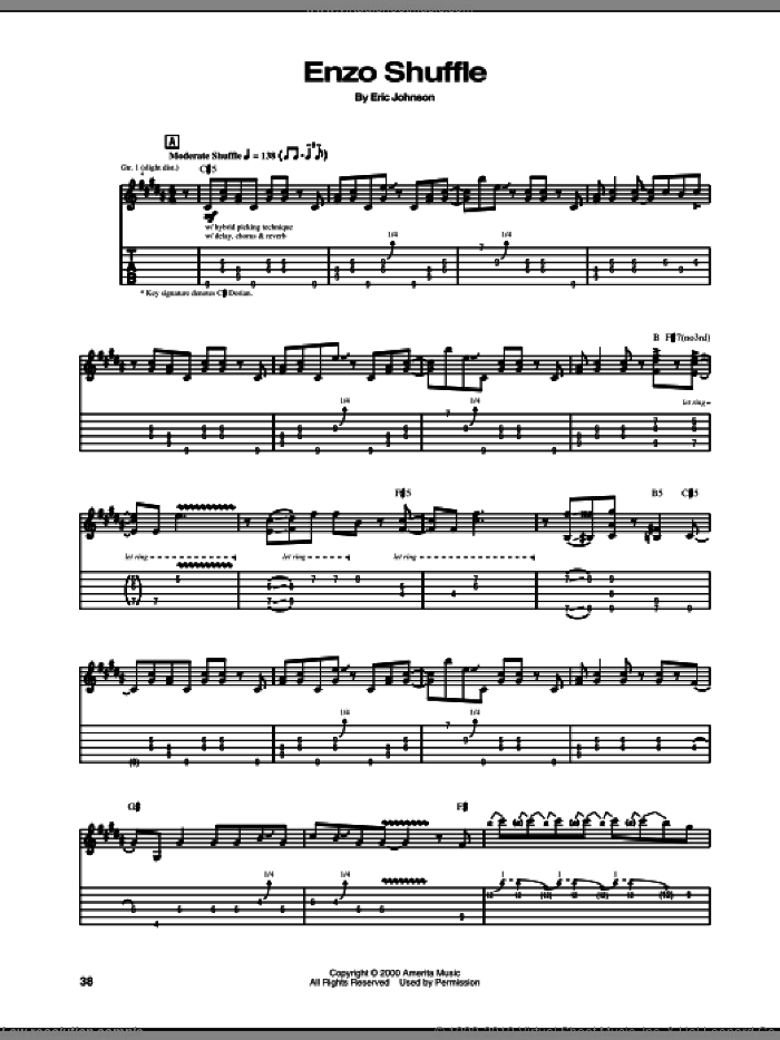 Enzo Shuffle sheet music for guitar (tablature) by Eric Johnson. Score Image Preview.