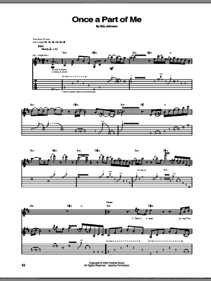 Once A Part Of Me sheet music for guitar (tablature) by Eric Johnson. Score Image Preview.