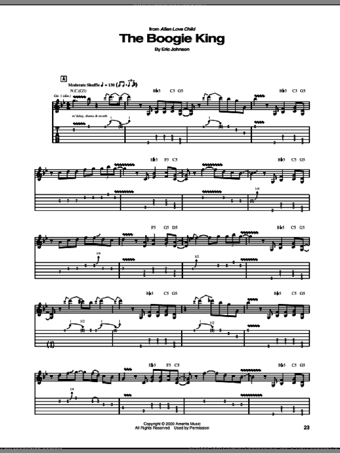 The Boogie King sheet music for guitar (tablature) by Eric Johnson, intermediate