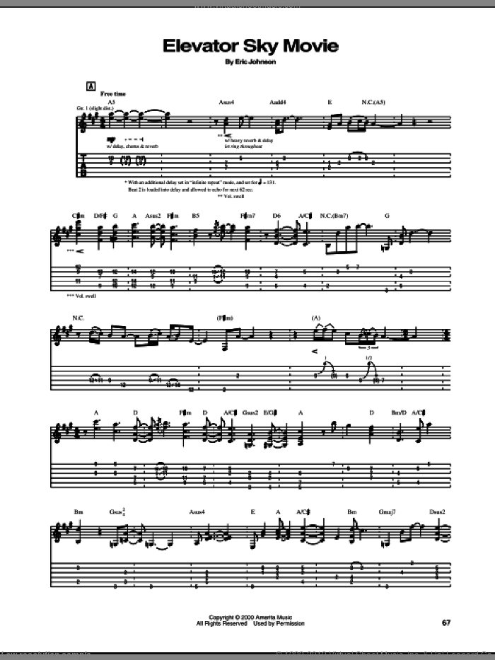 Elevator Sky Movie sheet music for guitar (tablature) by Eric Johnson. Score Image Preview.