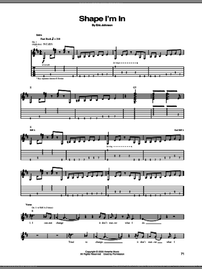 Shape I'm In sheet music for guitar (tablature) by Eric Johnson. Score Image Preview.