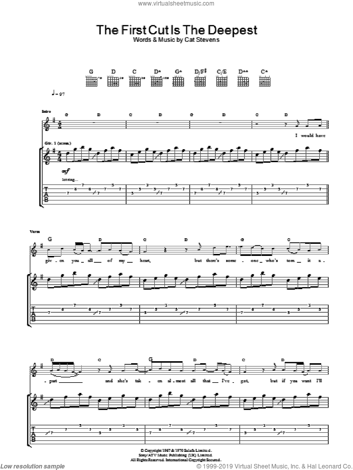 The First Cut Is The Deepest sheet music for guitar (tablature) by Cat Stevens and Sheryl Crow, intermediate. Score Image Preview.