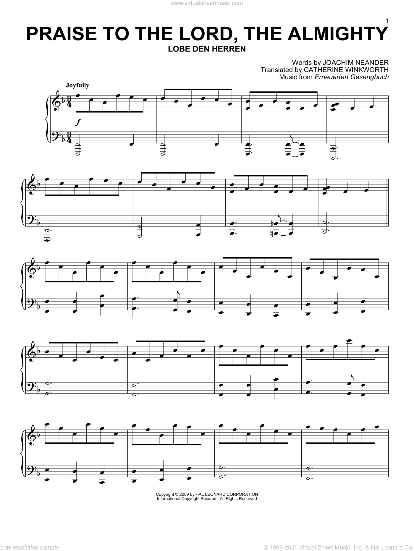 Praise To The Lord, The Almighty sheet music for piano solo by Erneuerten Gesangbuch