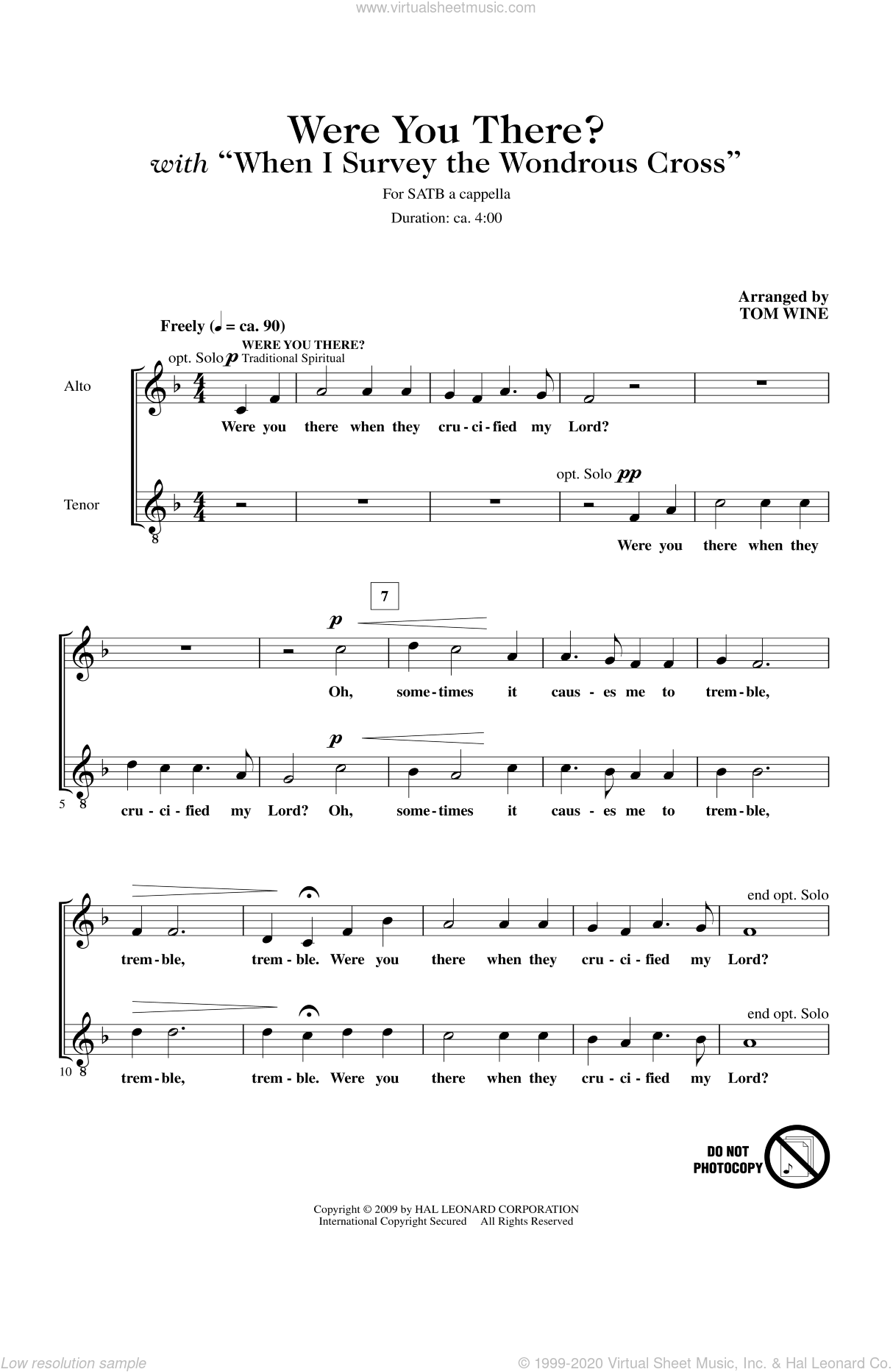 Were You There When They Crucified My Lord? sheet music for choir (SATB: soprano, alto, tenor, bass) by Tom Wine and Miscellaneous, intermediate skill level
