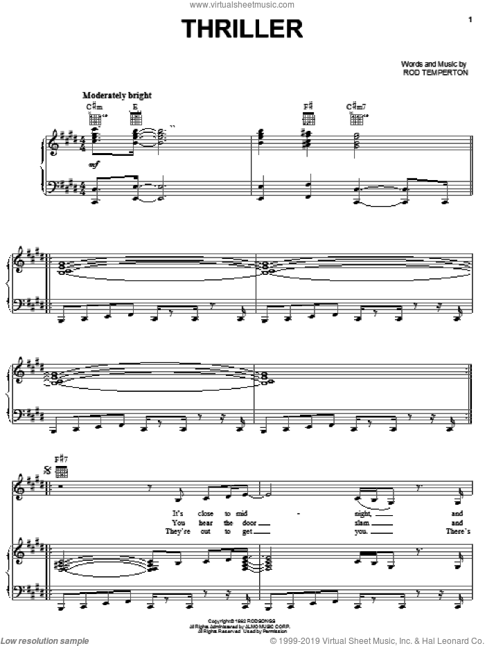 Thriller sheet music for voice, piano or guitar by Michael Jackson and Rod Temperton. Score Image Preview.