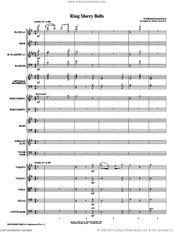 Ring Merry Bells (COMPLETE) sheet music for orchestra/band (chamber ensemble) by John Leavitt and Miscellaneous, intermediate skill level