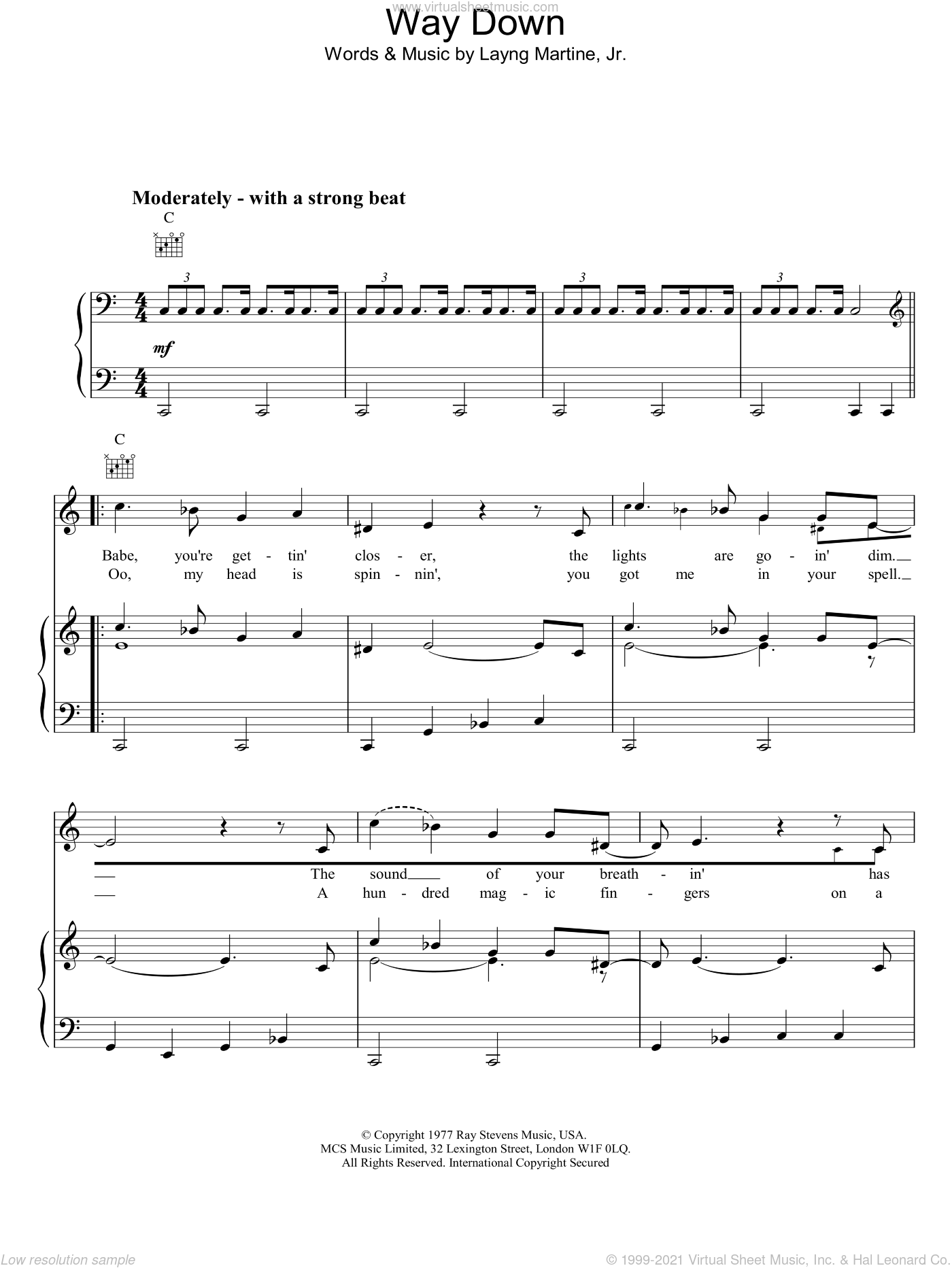 Way Down sheet music for voice, piano or guitar by Elvis Presley, intermediate skill level