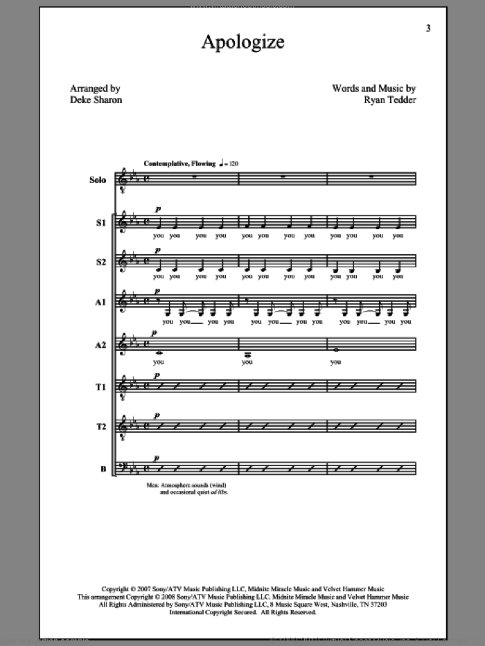 Apologize sheet music for choir (SATB: soprano, alto, tenor, bass) by Deke Sharon, Ryan Tedder, Timbaland and Timbaland featuring OneRepublic, intermediate skill level