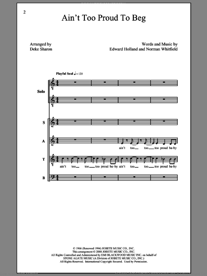 Ain't Too Proud To Beg sheet music for choir by Deke Sharon, Eddie Holland, Norman Whitfield and The Temptations, intermediate choir. Score Image Preview.
