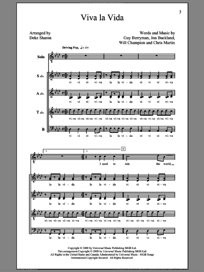 Viva La Vida sheet music for choir and piano (SATB) by Chris Martin, Coldplay, Deke Sharon, Guy Berryman, Jon Buckland and Will Champion. Score Image Preview.