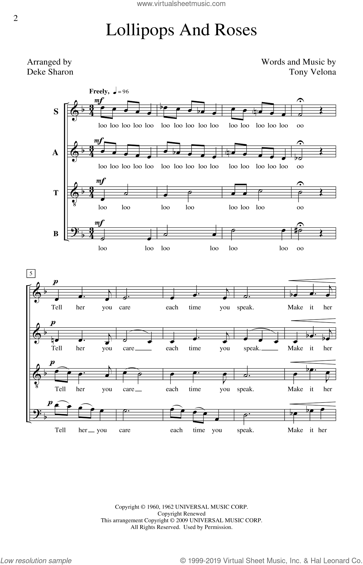 Lollipops And Roses sheet music for choir (SATB: soprano, alto, tenor, bass) by Tony Velona and Deke Sharon, intermediate. Score Image Preview.