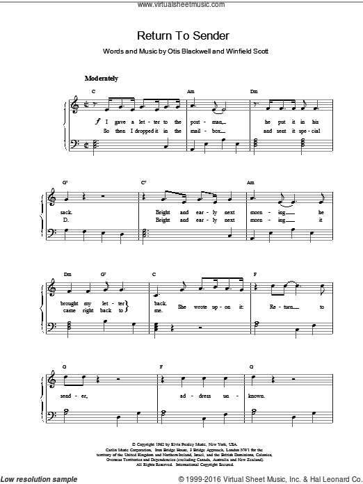 Return To Sender sheet music for piano solo by Elvis Presley and Otis Blackwell. Score Image Preview.