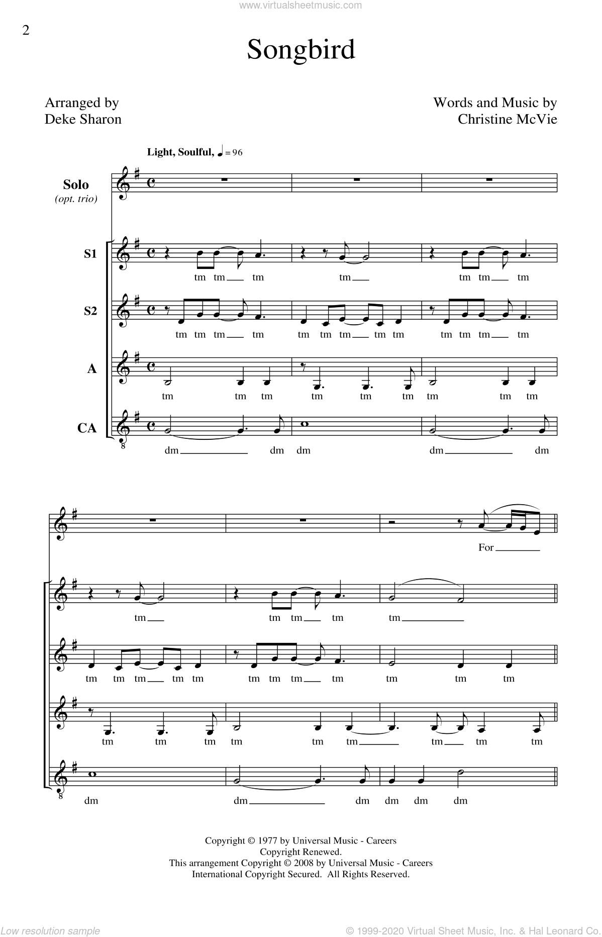 Songbird sheet music for choir (soprano voice, alto voice, choir) by Deke Sharon and Fleetwood Mac