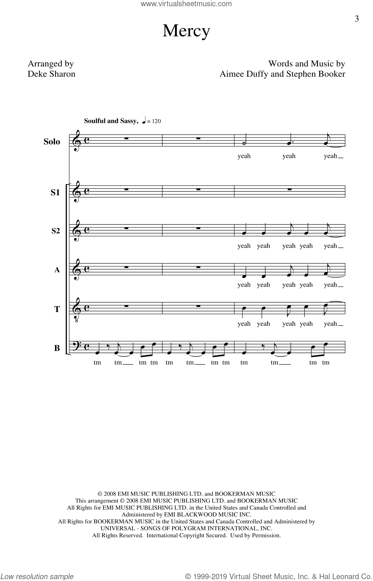 Mercy sheet music for choir (SATB: soprano, alto, tenor, bass) by Deke Sharon, Aimee Duffy, Steve Booker and Duffy, intermediate. Score Image Preview.