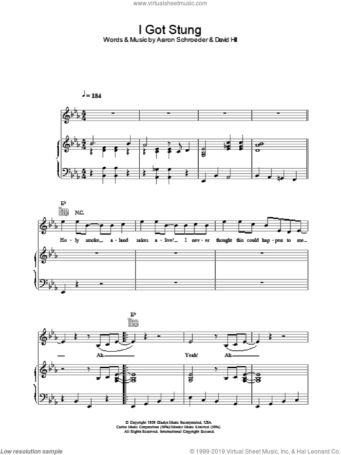 I Got Stung sheet music for voice, piano or guitar by Elvis Presley, Aaron Schroeder and David Hill, intermediate voice, piano or guitar. Score Image Preview.