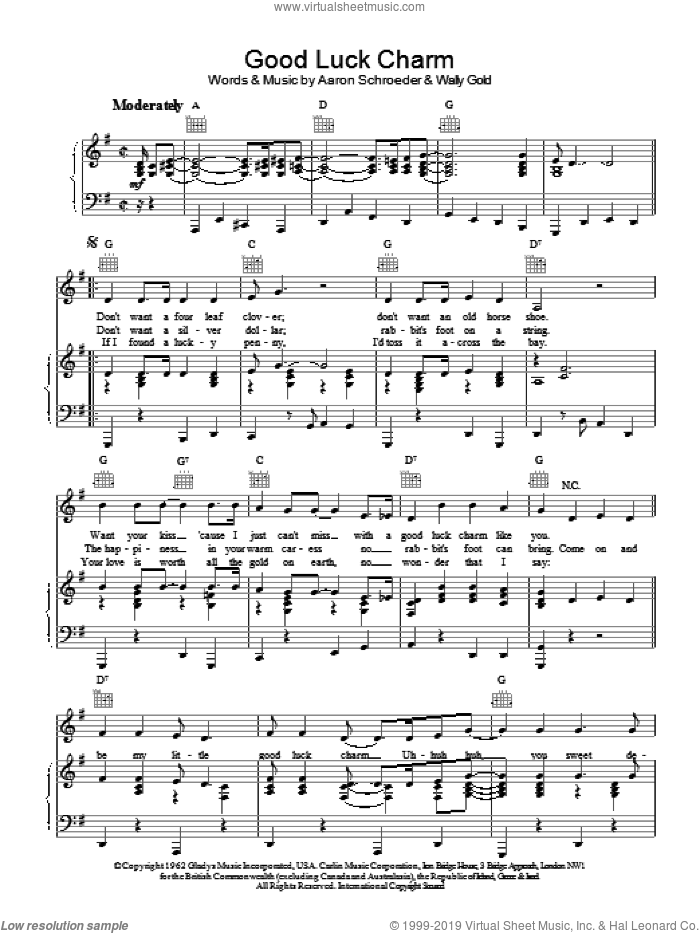 Good Luck Charm sheet music for voice, piano or guitar by Wally Gold, Elvis Presley and Aaron Schroeder. Score Image Preview.