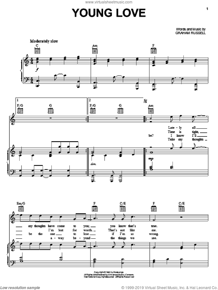 Young Love sheet music for voice, piano or guitar by Graham Russell