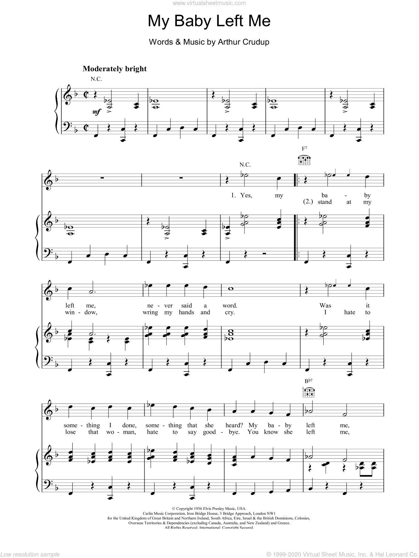 My Baby Left Me sheet music for voice, piano or guitar by Elvis Presley, intermediate. Score Image Preview.