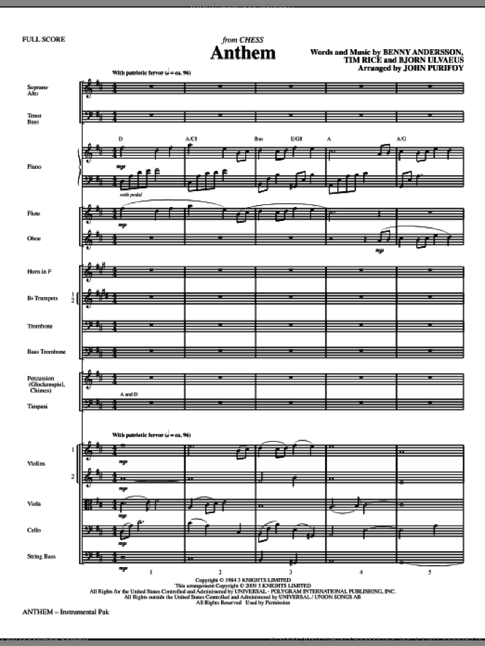 Anthem (from Chess) (COMPLETE) sheet music for orchestra/band (chamber ensemble) by Tim Rice, Benny Andersson, Bjorn Ulvaeus, Miscellaneous, John Purifoy and Josh Groban, classical score, intermediate. Score Image Preview.